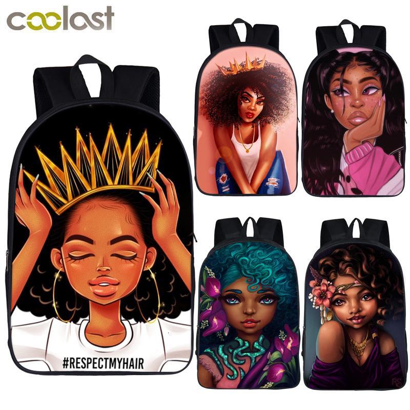 Afro Lady Девушка рюкзак Африка Красота принцесса Девушка Дети ранцы для подростки Браун девушки школы рюкзака женщин сумки книга SH190918