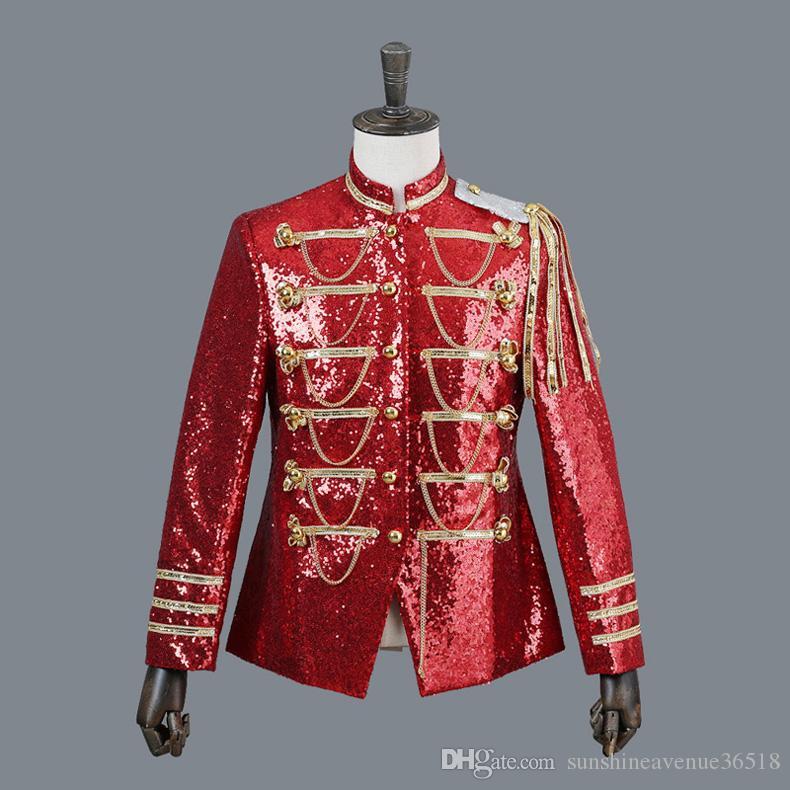 Shiny Red Sequin Blazer Jacket Uomo Stand Colletto Blazer monopetto Para Hombre DJ Party Stage Prom Costumi