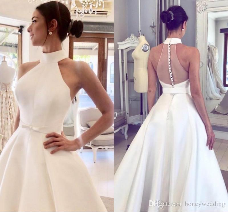 Halfter 2019 Brautkleider Günstige Satin A-Linie Braut Ballkleid Elegante Knöpfe Zurück Plus Size Brautkleid Günstige Brautkleid