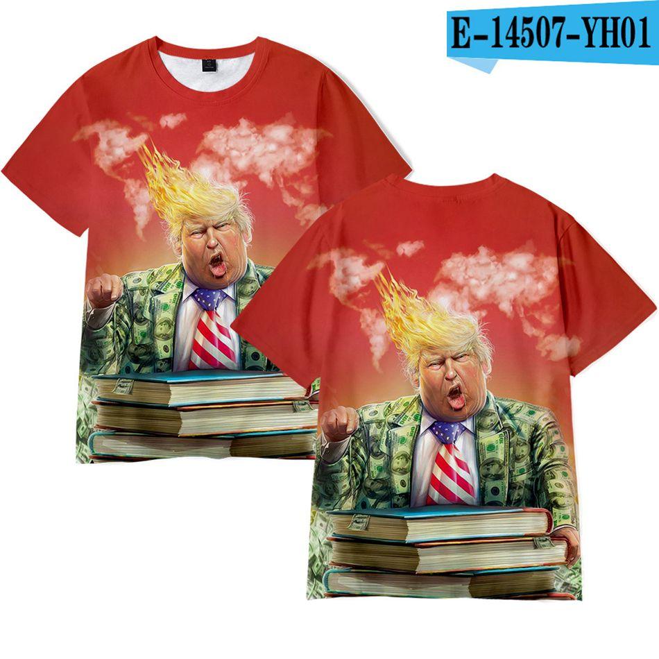 Hombres Mujeres Donald Trump 2020 camisas de la camiseta del O-Cuello de la manga corta EE.UU. Elección Trump camiseta divertida Tops Camiseta sobre el tamaño LJJA4070