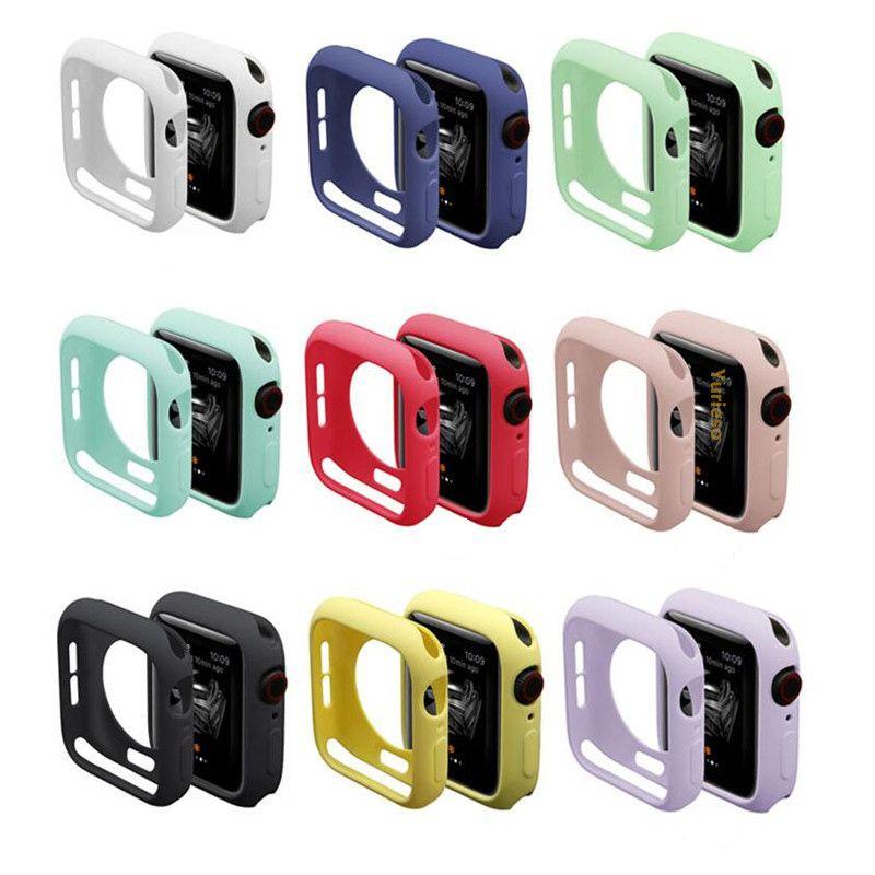 الملونة سيليكون حالة لينة لشركة آبل ووتش iWatch سلسلة 1 2 3 4 غطاء حماية كاملة حالات 42MM اكسسوارات 38MM 40MM 44mm والفرقة
