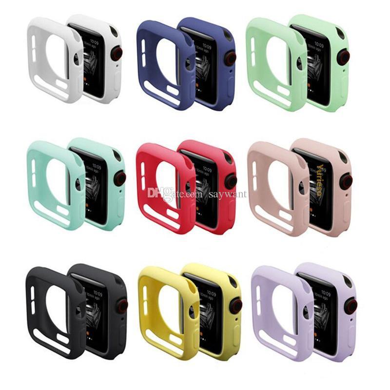 Красочные мягкие силиконовый чехол для Apple, часы iWatch серия 1 2 3 4 Случаев 42мм 38мм 40мм 44мм Ленточных аксессуаров Обложки Полной защита