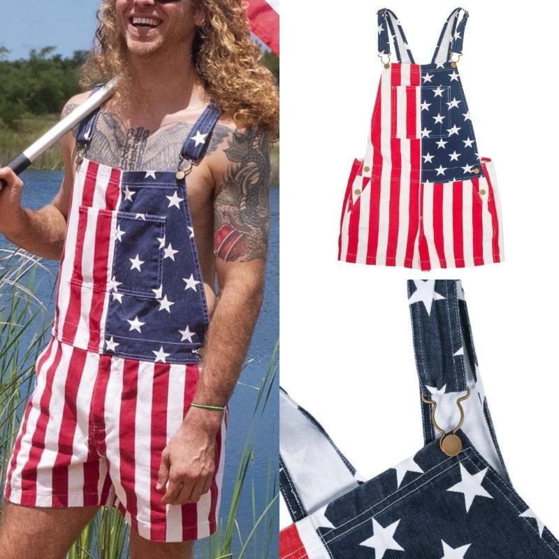 WEPBEL Erkekler Jeans Genel Denim playsuits Yıldız Bayrağı Baskılı Yeni Amerikan Bağımsızlık Günü Bayrağı Çiftin Genel