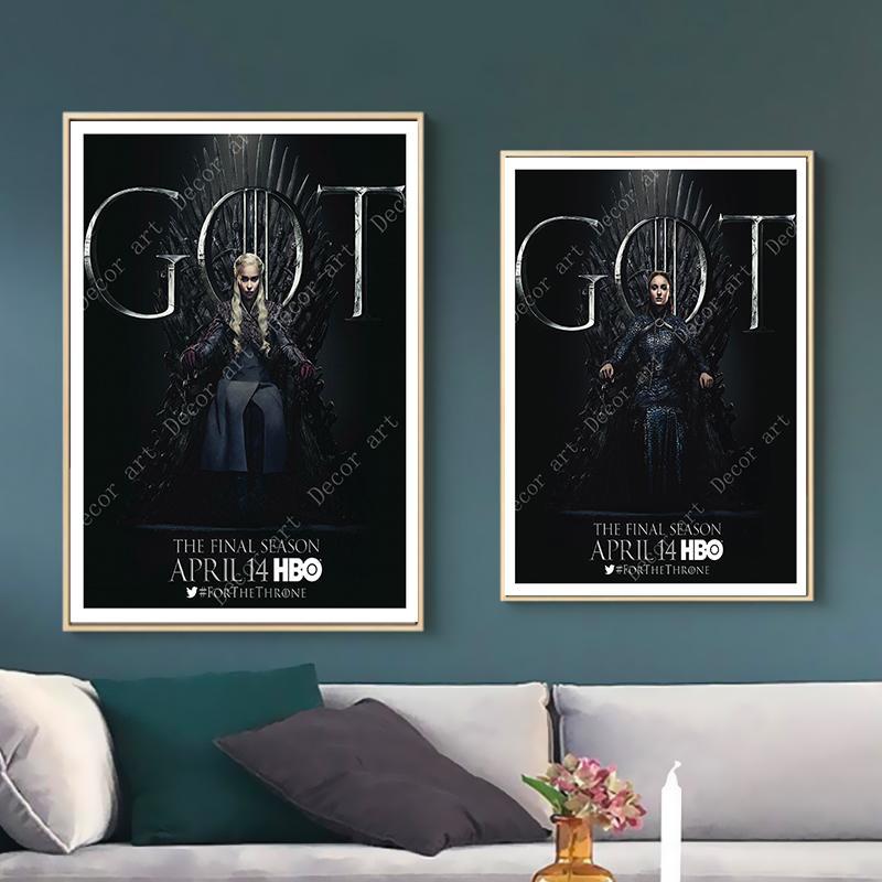 Juego de tronos Jon Snow Daenerys Tyrion Pinturas sobre lienzo Vintage Wall Kraft Carteles Recubiertos Pegatinas de pared Regalo decorativo para el hogar
