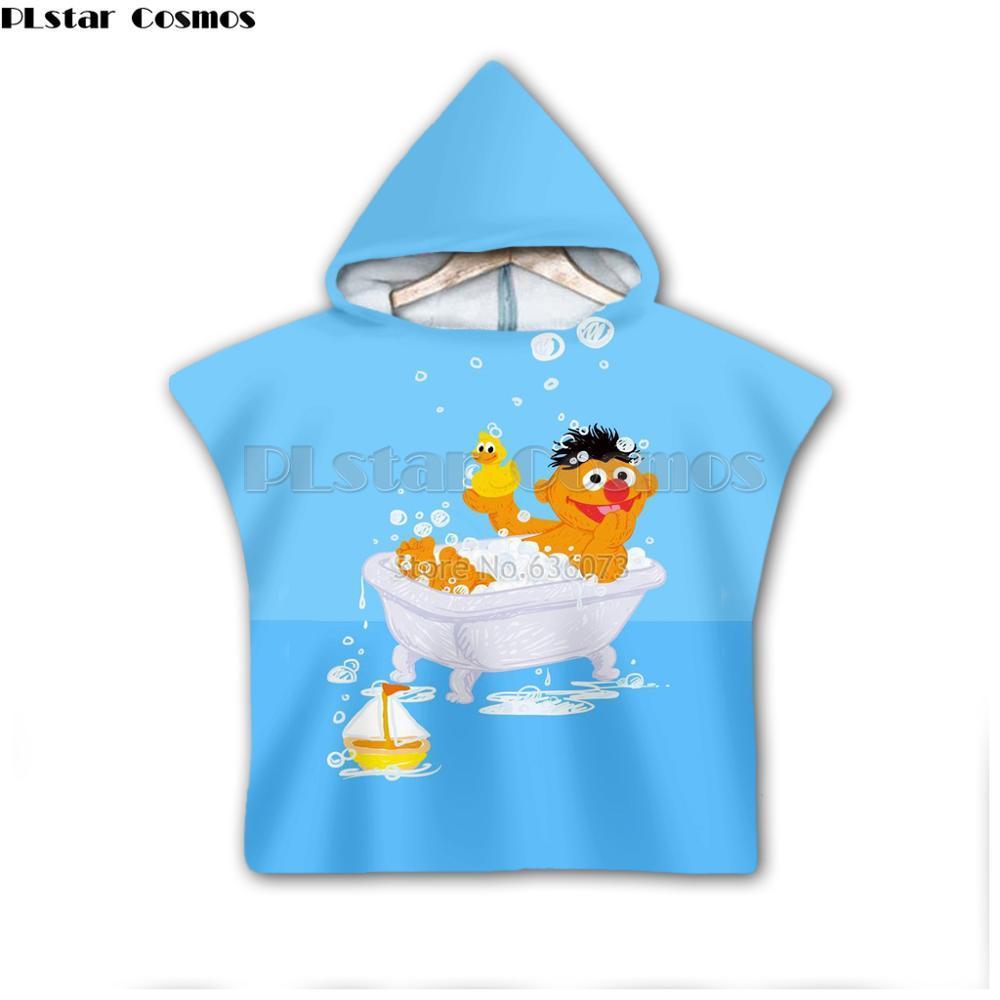 Monster impresión galleta del Sesame Street con capucha de Niños y Niñas de la toalla usable toalla de baño para los niños Viajes estilo 3D-11 toallas de playa