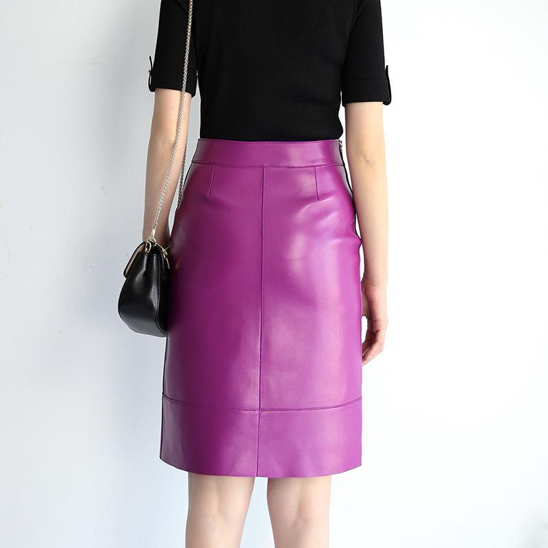 crayon en cuir véritable de haute qualité des femmes printemps automne jupe poche en cuir véritable mode chaud de B341