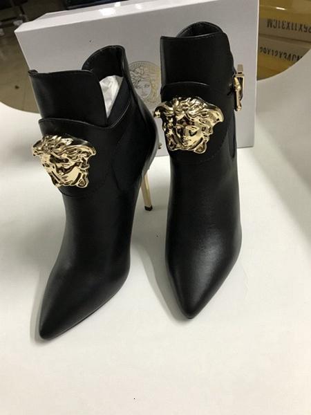 Chunky haut talon en cuir femmes Bottines Noir Chaussures Livraison gratuite
