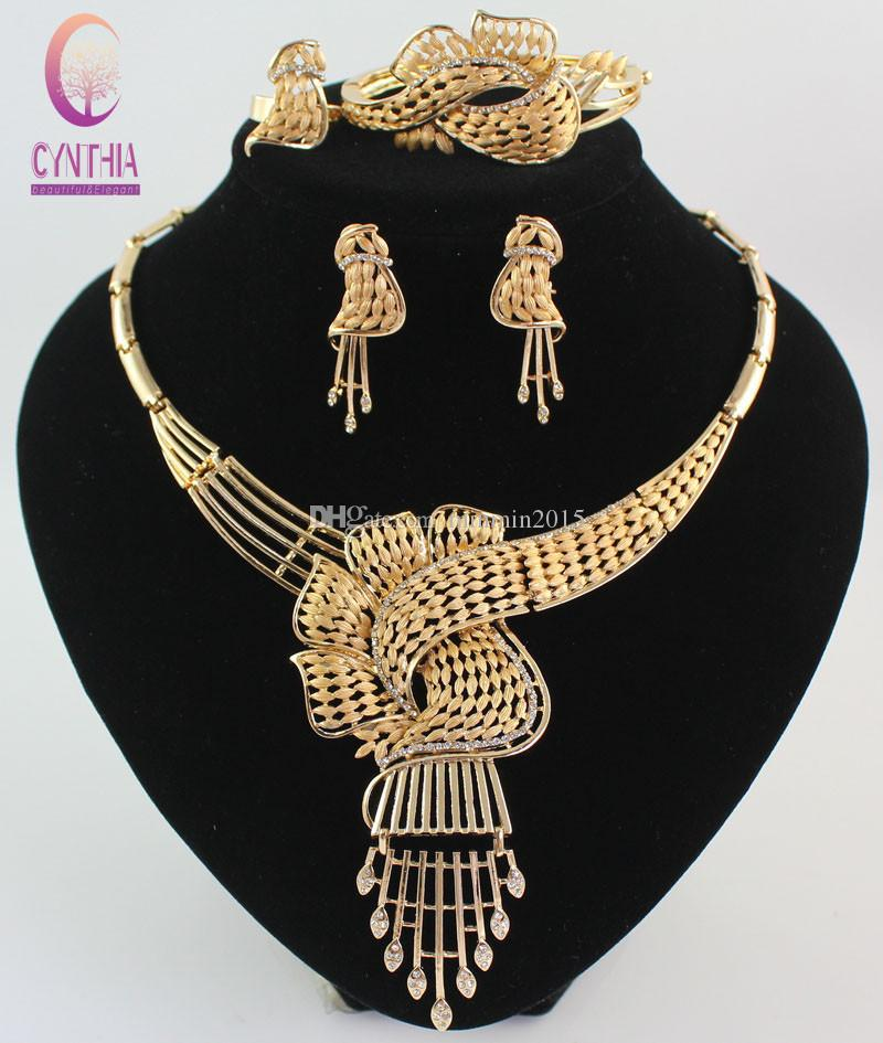 Top Quality Luxury Wedding Bridal Luxury Gold color Crystal African Tassel Crystal Statement Necklace Earring Jewelry Party Set
