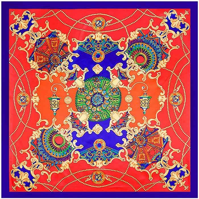 Las mujeres de lujo de la bufanda de seda elegante de la manera floral cuadrado de la bufanda pequeña asa de la bolsa Cintas señoras de pelo de la venda del lazo de la banda 90 * 90cm de la muchacha de la venda de K