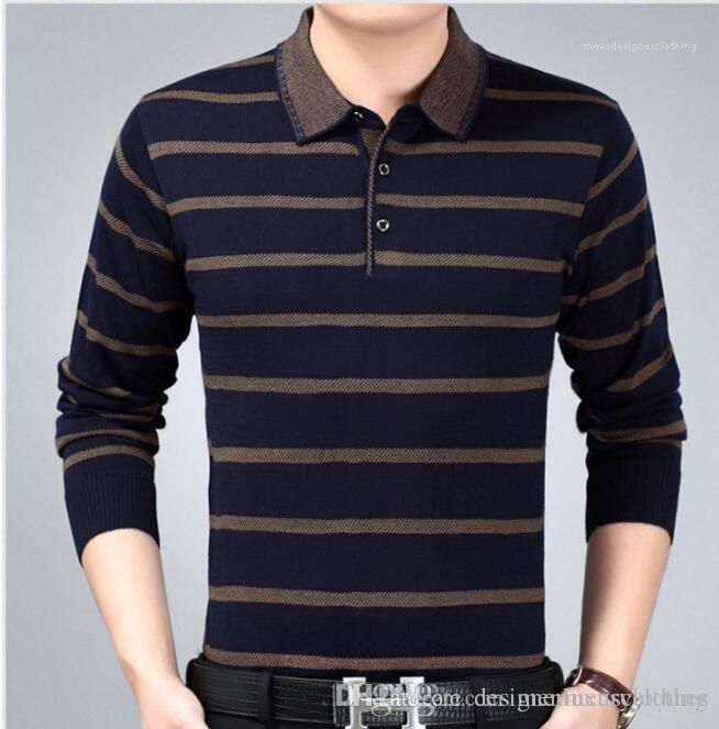 Designer Polo T-shirt Automne Printemps affaires Hauts Nouveau Homme Tricoté rayé Mode Polos Père Vêtements Hommes
