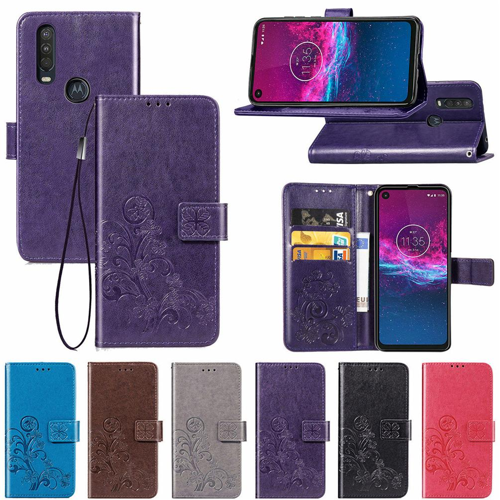 Pour Moto One Phone Cases d'action en cuir PU Couverture chanceux Trèfle à quatre avec carte portefeuille fente Dragonne (une seule action)