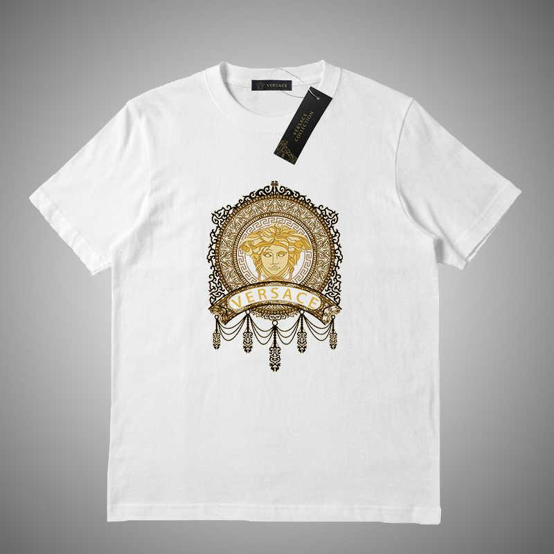 Versace Maniche corte Mens Designe maglietta maglietta di estate di lusso di modo della lettera di stampa donne degli uomini di alta qualità T casuali # 46515