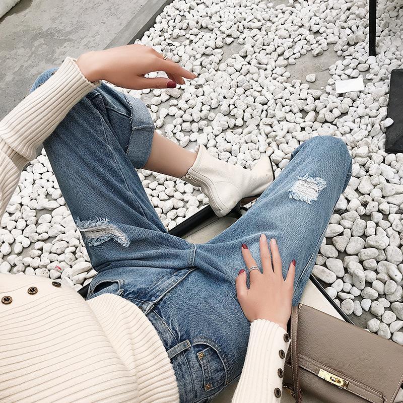 yüksek bel nineminute pantolon deliklerin kadın kot kaynağını bulun Kore versiyonu rahat kıyafet düz pantolon moda bir geni Retro