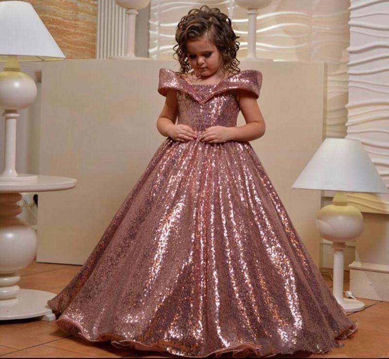 Rose Gold lantejoulas Meninas Pageant Vestidos Alças Lace up Voltar Trem da varredura da festa de aniversário da criança de flor Vestidos Vestido de menina para o casamento
