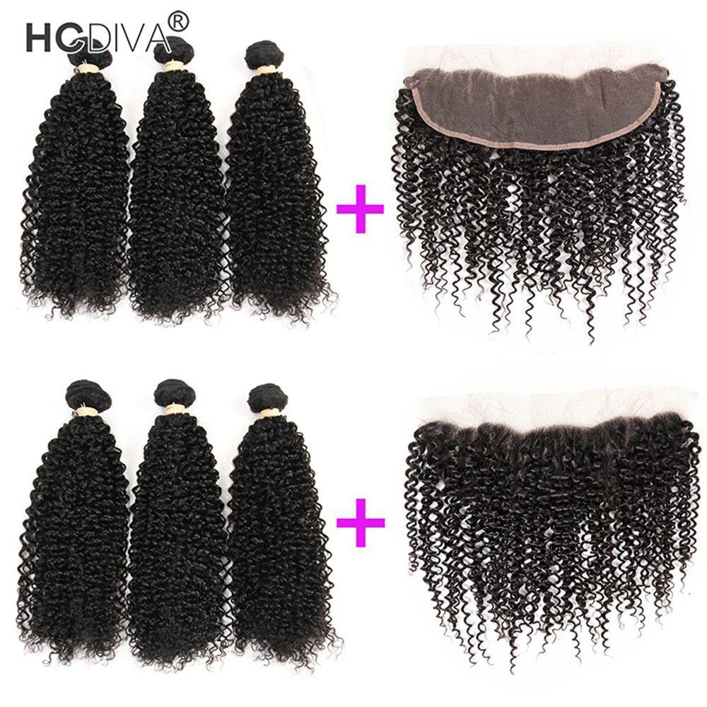 HCDIVA 3 정면으로 번들 머리를 가진 13x4 레이스 정면 천연 블랙 몽골어 변태 곱슬 처녀 머리 처리되지 않은 인간의 머리 번들