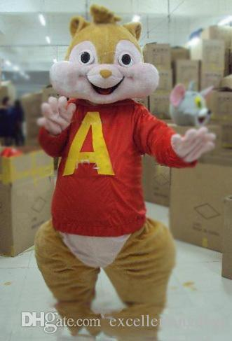 2019 High quality Lovely Brown Alvin and the Chipmunks Mice Mouse Rat Chipmuck Mascot Costume Mascotte