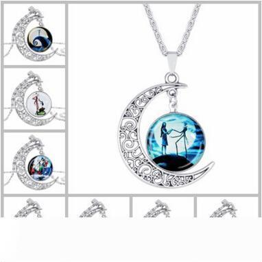 Nightmare Before Christmas time gem necklace Cabochon pendants glass necklaces jewelry for women Christmas valentine's day gift