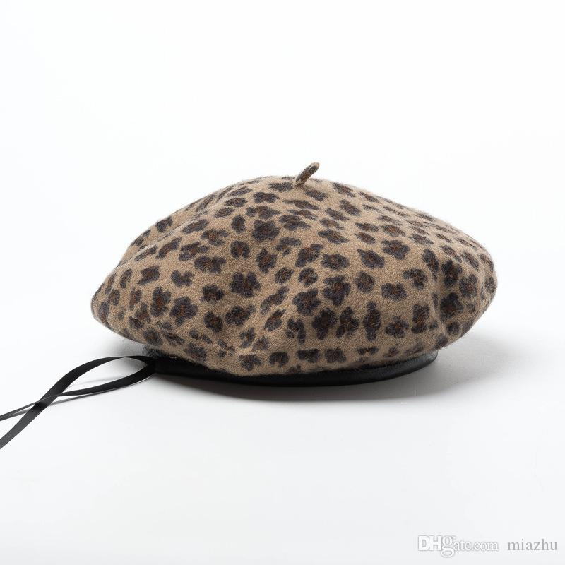 Alta Qualidade elegante Lã Beret Leopard Mulheres Winter chapéu morno Vintage casquette Chapéus Francês Artista Beanie Cap boina feminina tampa plana Quente