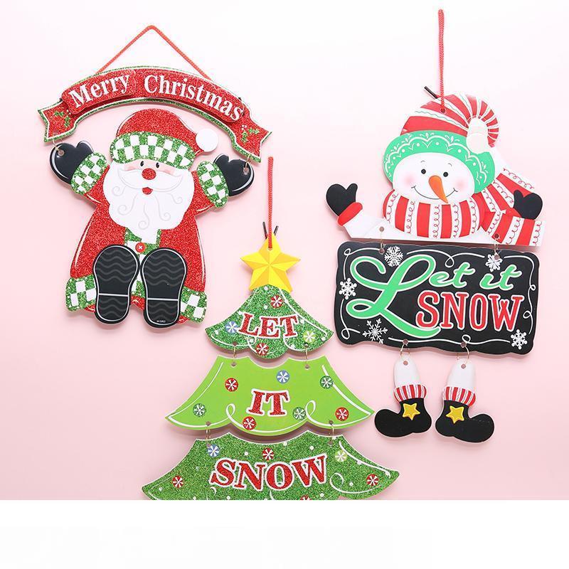 Creative Decorations Christmas Door Handle Ornaments Santa Claus Snowman Elk New Year's Door Hanging Christmas Home Decoration