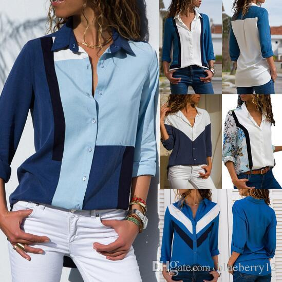 2019 Spring and Summer Womens Shirt European Style New Chiffon Shirt Long Sleeved Solid Color Stitching V Neck Ladies Tops