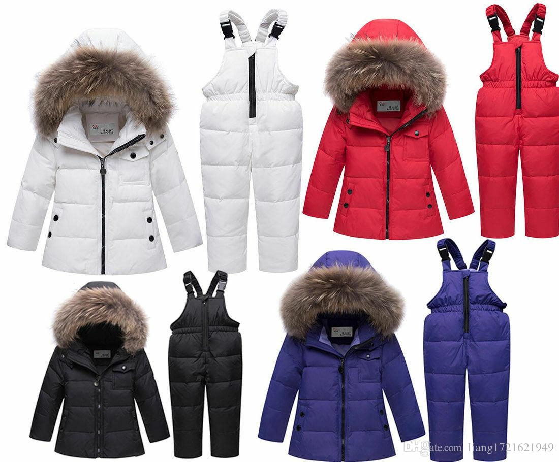 Kinder Jungen und Mädchen Kleinkind Schneeanzug Puffer Fell Kapuze Daunenjacke Mantel Outfits