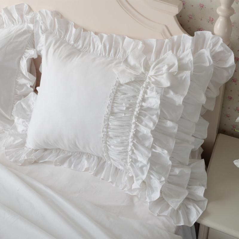 Camadas De Bolo de luxo Plissado Fronha Branco Europa Handmade Rugas Elegante Fronha Fronha Bownot Design Doce Princesa Y19062103