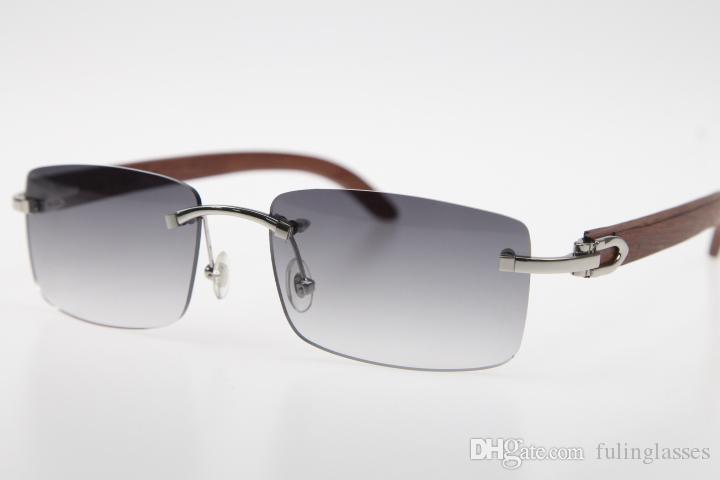 2019 Freies Verschiffen Randlos-Brille Neue Holz SunGlasses Hot 8.200.758 Randlos SunGlasses Hot Unisex Designer Holz-Sonnenbrille mit Kasten Grau