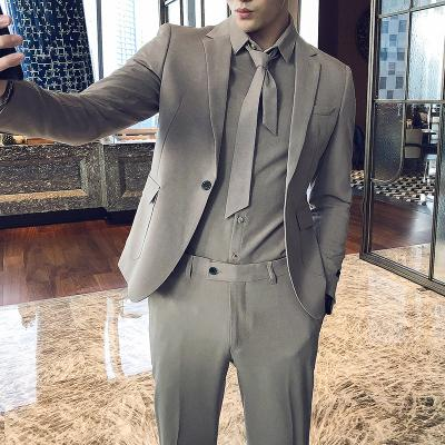 2020 Design Terno Suit Casual Homens Três Vestido Pieces Vestido o noivo do casamento Groomsman Grupo Magro coreana Negócios