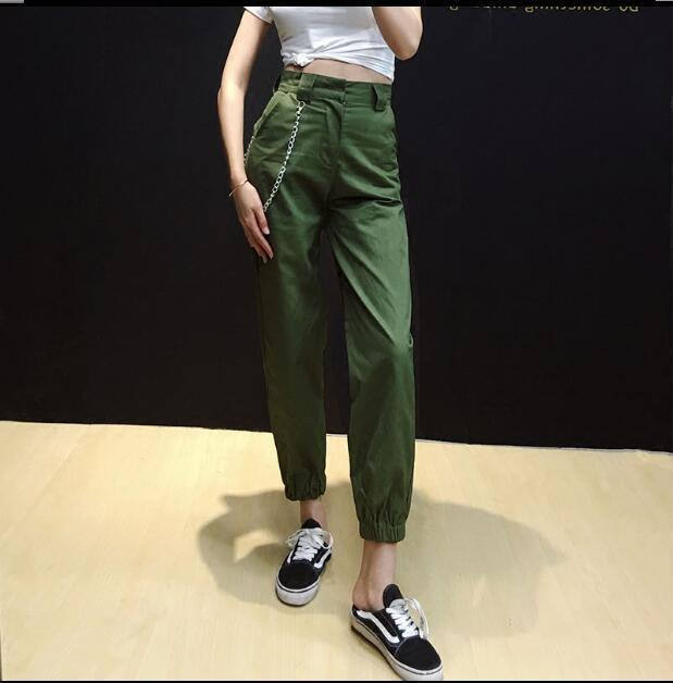 Women Waist Chains Sweatpants Green Cargo Pants Joggers Long Zipper Trousers Streetwear Harem Pants Pantalon Female Slacks