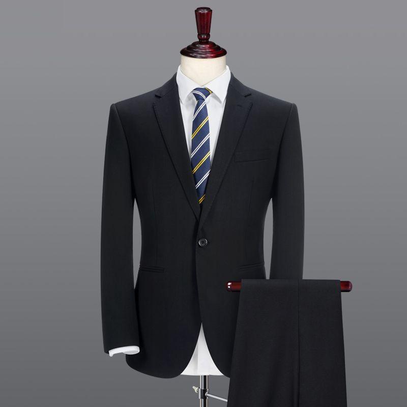 sottile abiti formali neri 2pcs 3pcs singolo tasto 2020 Spring Business uomo autunno inverno uomini di marca abito da sposa in sposo abbigliamento