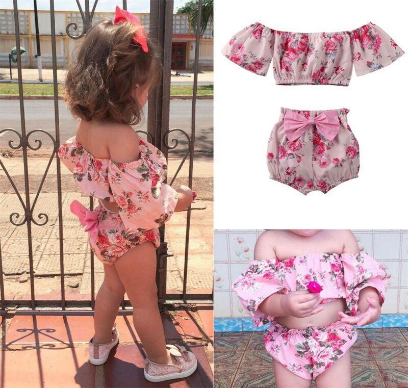 2 piezas de Bebé recién nacido Hombro Flor Romper cortos conjunto de pantalón ropa