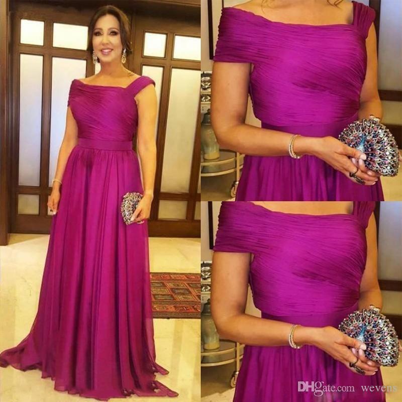 Fucsia Una línea Vestidos para la madre de la novia Longitud del piso fruncido gasa vestido mae da noiva Ropa formal Más tamaño Vestido de fiesta de bodas