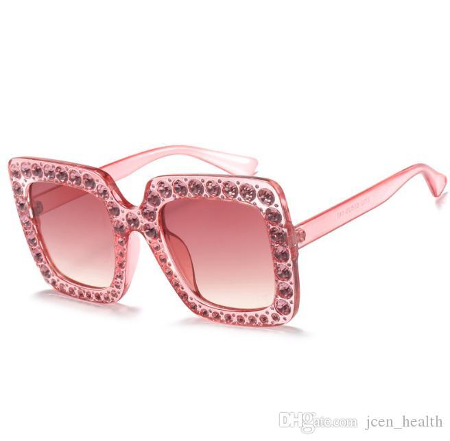 여성은 큰 프레임 고글 안경 UV400 고품질 gafas을 구형 도매 고급스러운 디자이너 스타일의 선글라스 다이아몬드 태양 안경을 반짝