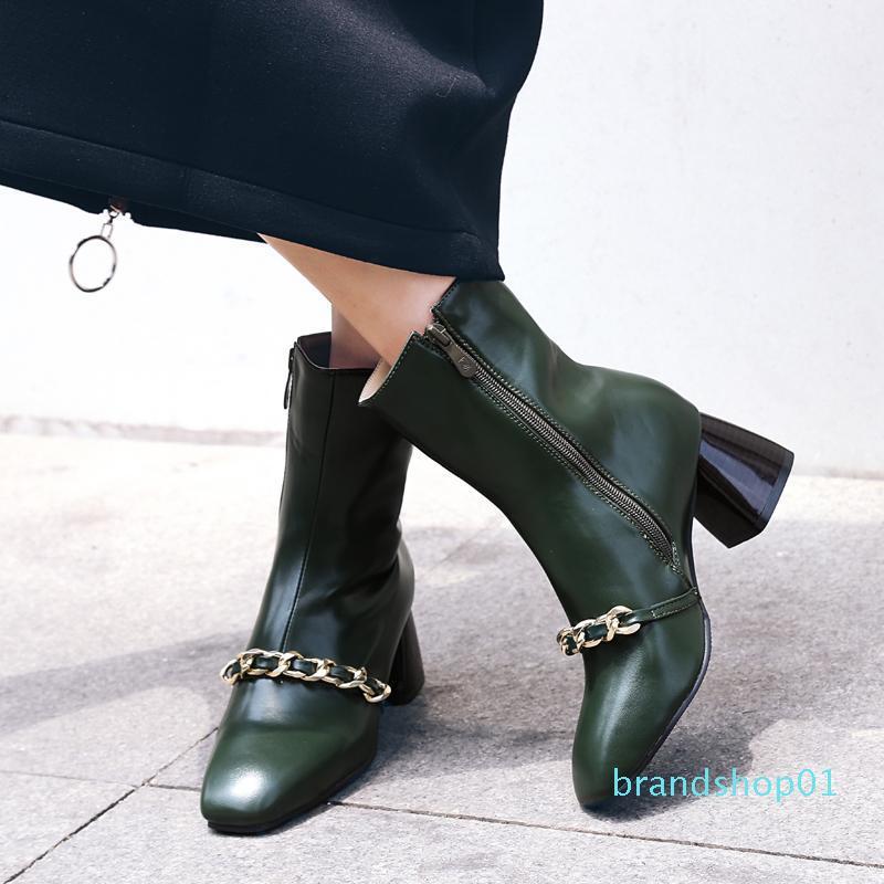 Delicate2019 vento ultraperiferiche strato di pelle In Catena Leg Side Zipper Piazza con metallo confortevole vi Codice Boots