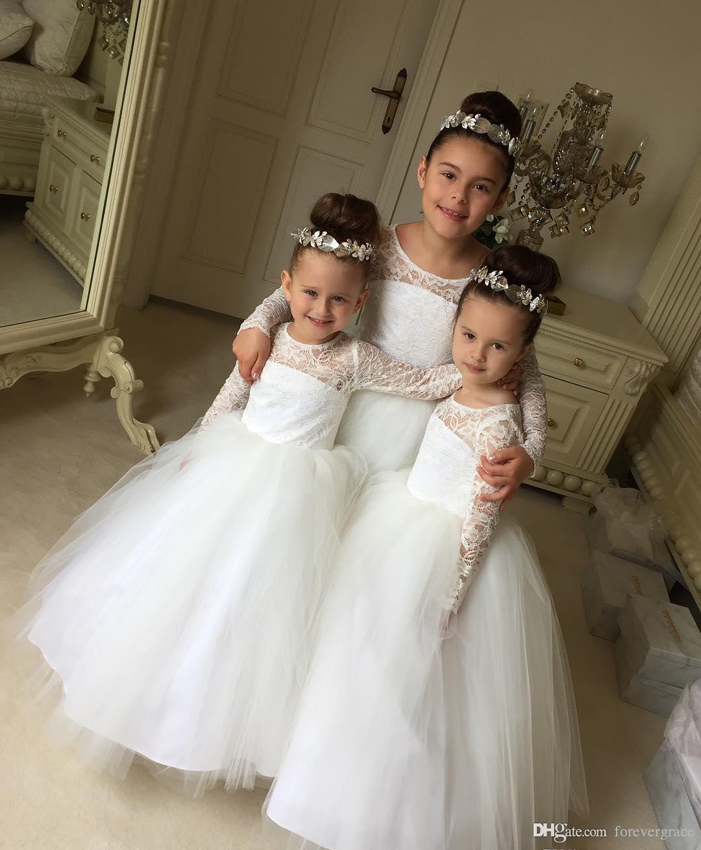 2019 freies Verschiffen Prinzessin Cheap Lace Blumenmädchenkleider Kleinkind Lange Ärmel Hübsche Kinder Erstkommunion Kleid