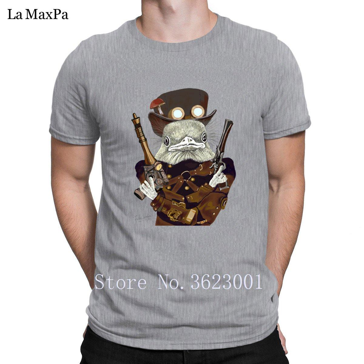 Hat Com Cogumelo Slim Fit Homens T shirt selvagem Pássaro Oeste arqueiro camisetas por Homens Spring Autumn divertida do pescoço de grupo T Top