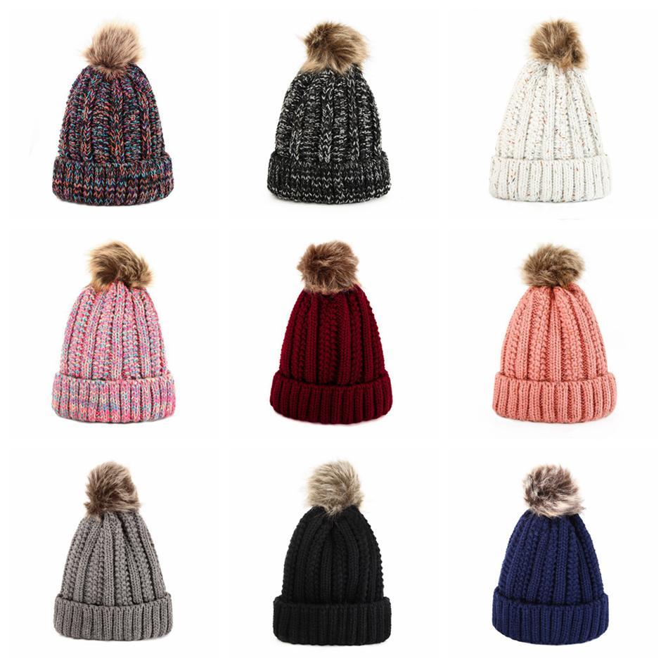 Hiver Femmes Bonnet chauffent Pom Pom Beanies boule de fourrure laine Hat dames crâne Bonnet ski Crochet de ski en plein air Casquettes LJJA3556-12