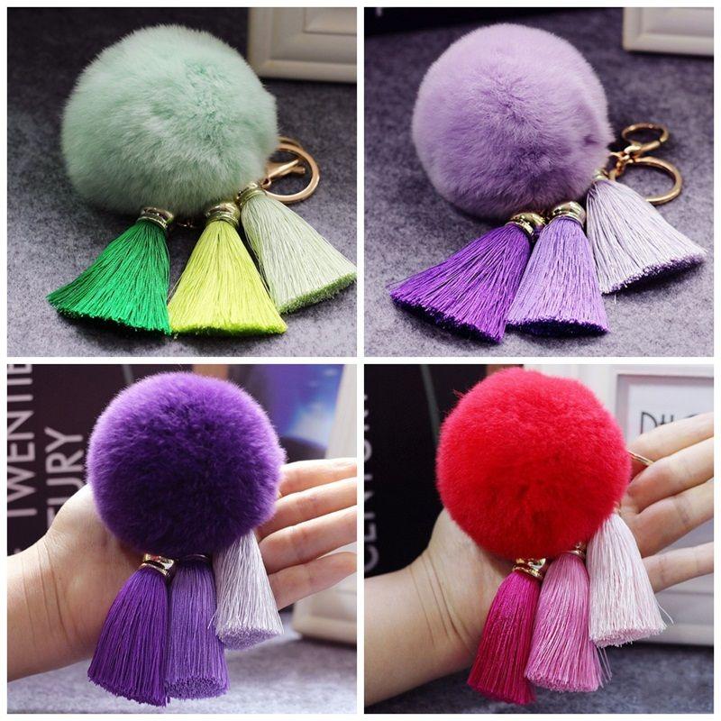 Big Fling Automobile Key Ring With Tassels Rex Rabbit Keychain Women Mobile Phone Shell Plush Pendant Mulit Colors 6 8cf E1