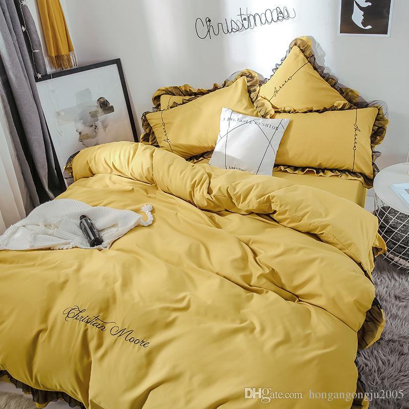 Principessa stile coprilacci trapunta federa del cuscino applica ai set di puro cotone twill quattro pezzi copripiumino Imposta Bedding Supplies 1.2M 1.5M