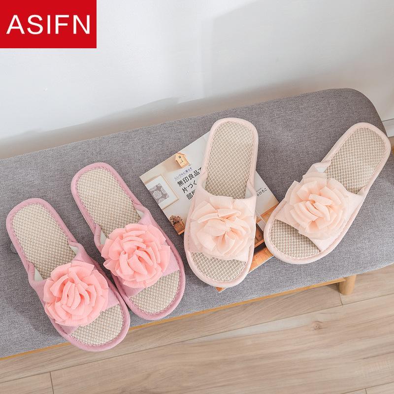 ASIFN женщины Мода тапочки Ванная комната льняная Элегантный Слайды Non скольжению Розовой Мулы Лето Вьетнамка милого цветы Zapatos De Mujer
