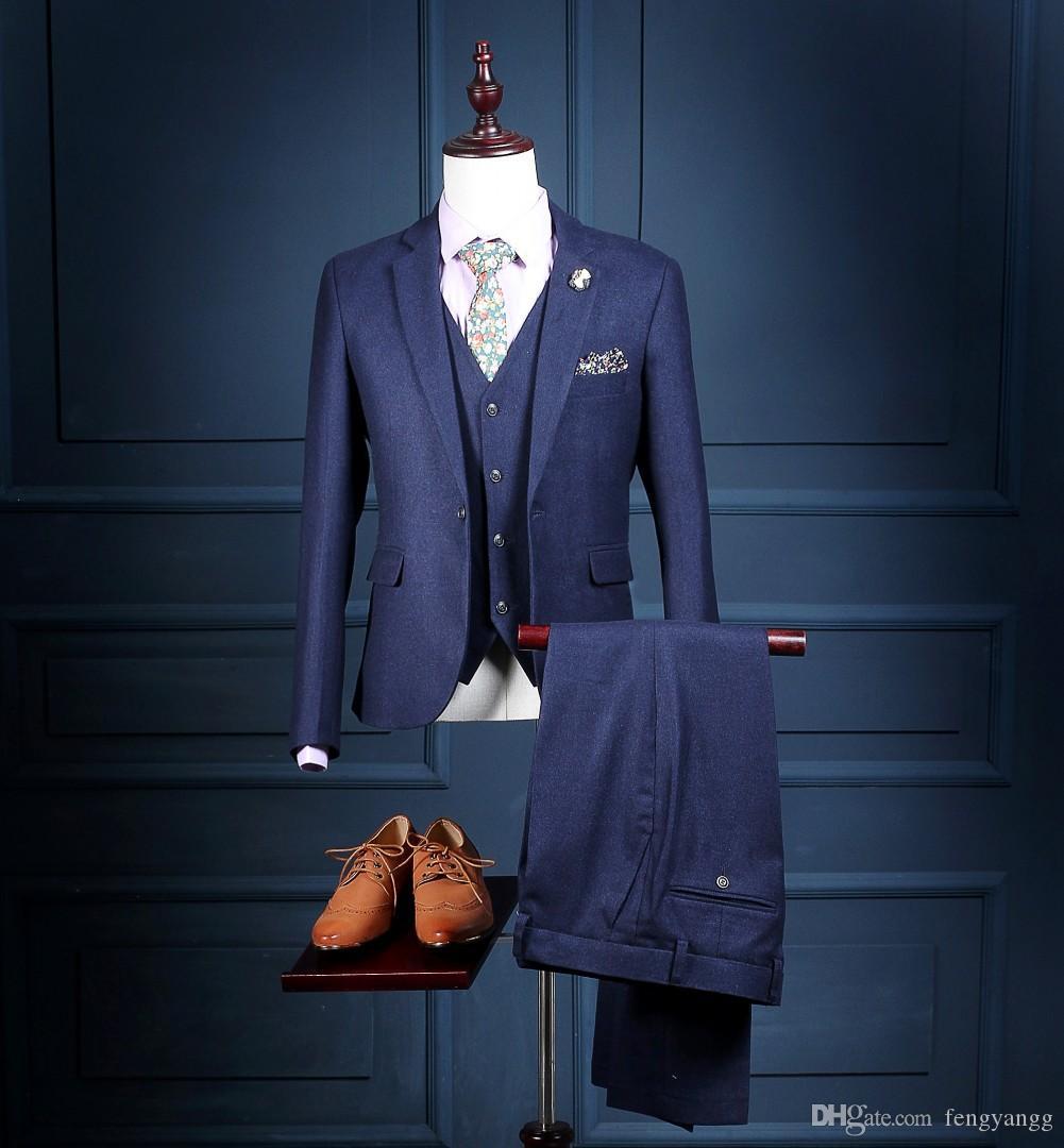 Apuestos Trajes boda del partido de esmoquin Un botón de 3 piezas (chaqueta + pantalones + chaleco) cuello con muesca Trajes clásicos aptos