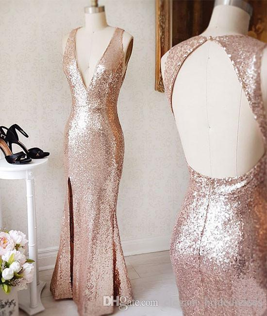Sparkly Rose Gold Paillette Sequin Prom Dresses Sexy Side Slit Deep V Neck Open Back Evening Formal Gowns Fitted Cheap Cocktail Party Dress