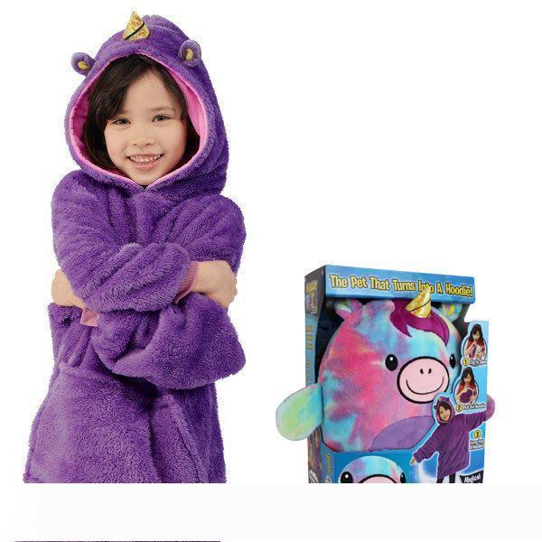 B 2019 Yeni Çocuk Sevimli ve konforlu Sıcak Battaniye Kazak Pet Noel Hediye Giyilebilir Hoodie Gecelik Şeklinde