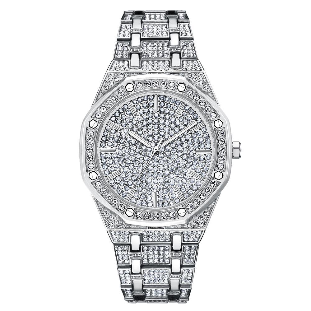 최고의 남성 시계 남성 여성 드레스 시계 패션 실버 석영 시계 남성 빅 다이얼 라인 석 손목 시계 새로운