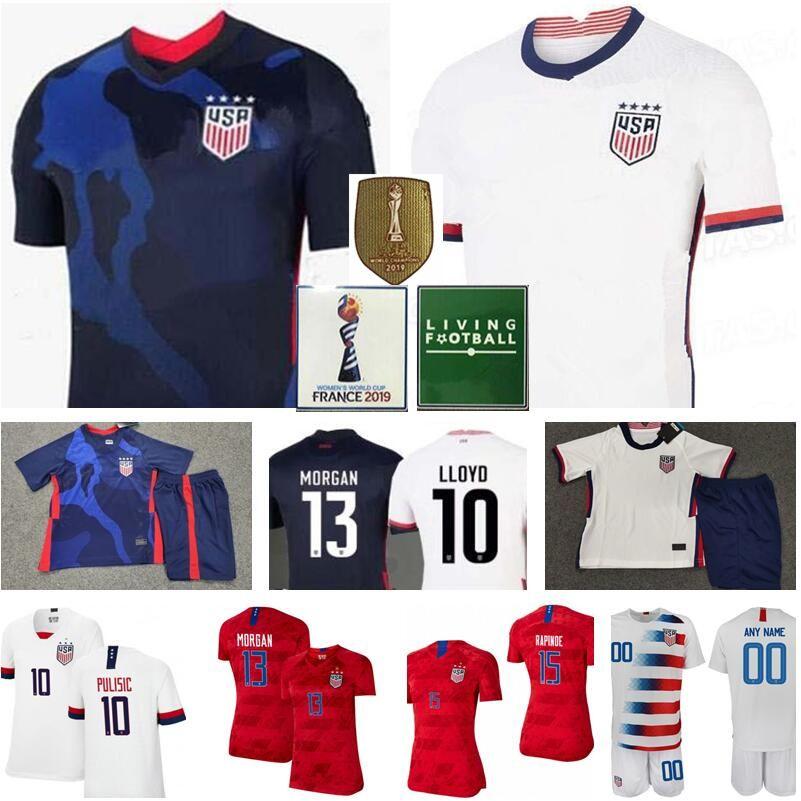 미국 축구 유니폼 (15) RAPINOE (13) MORGAN (19) 던 8 ERTZ 10 LLOYD (17) HEATH KRIEGER 라벨르 보도 축구 셔츠 남성 여성 청소년 레드 블루 화이트