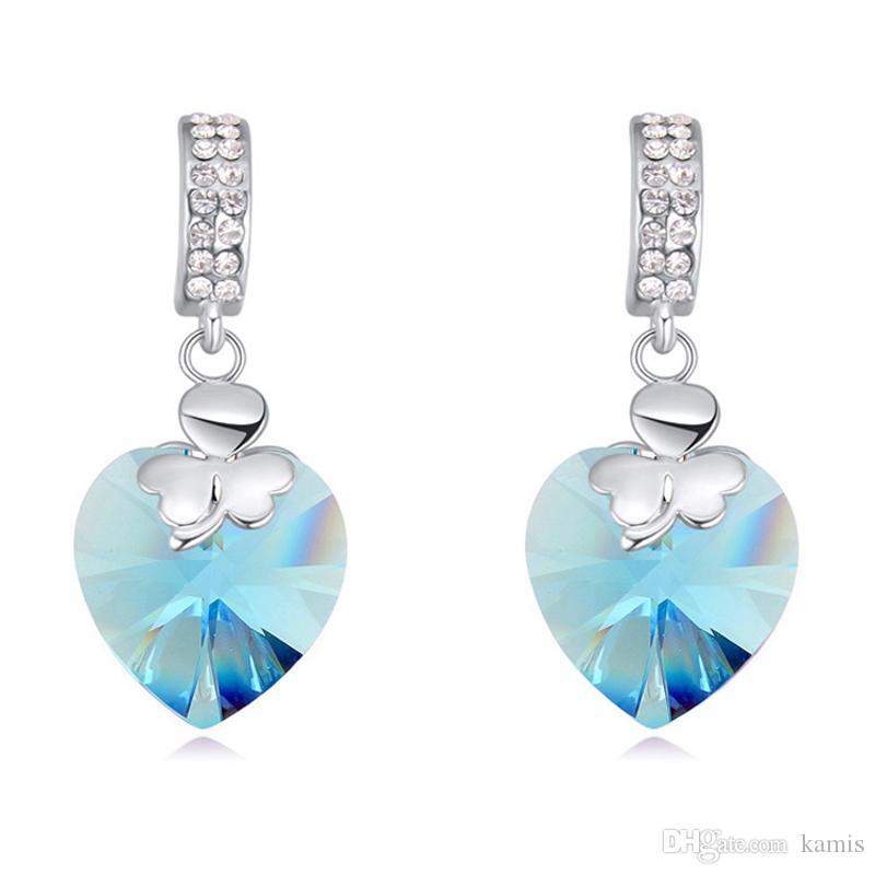 nuovi orecchini cuore ciondola realizzati con elementi di cristallo Swarovski per gli accessori dei monili del partito di nozze le ragazze miglior regalo di Natale bijoux