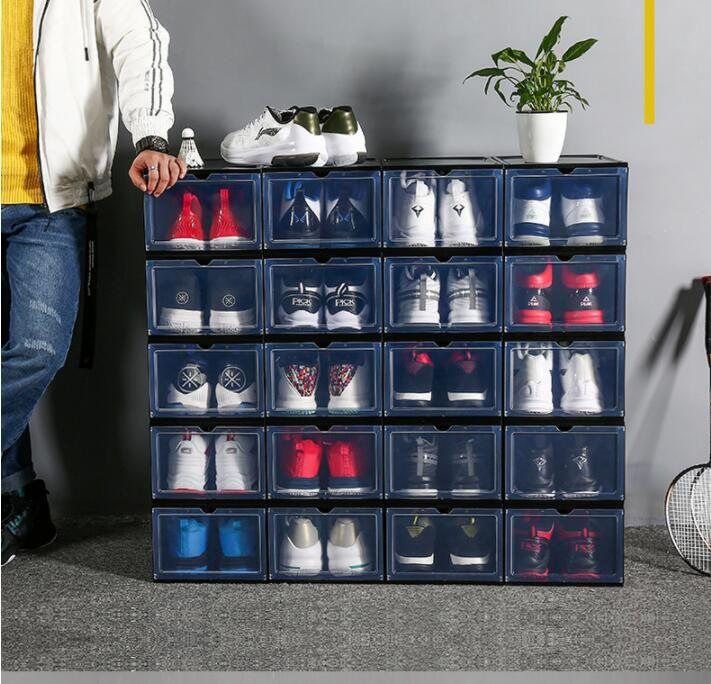 PP Transparent Plastic Storage Boîtes à chaussures de stockage Stagiper à la poussière Tireuse Boîte de rangement peut être pliée et amovible CZG 003