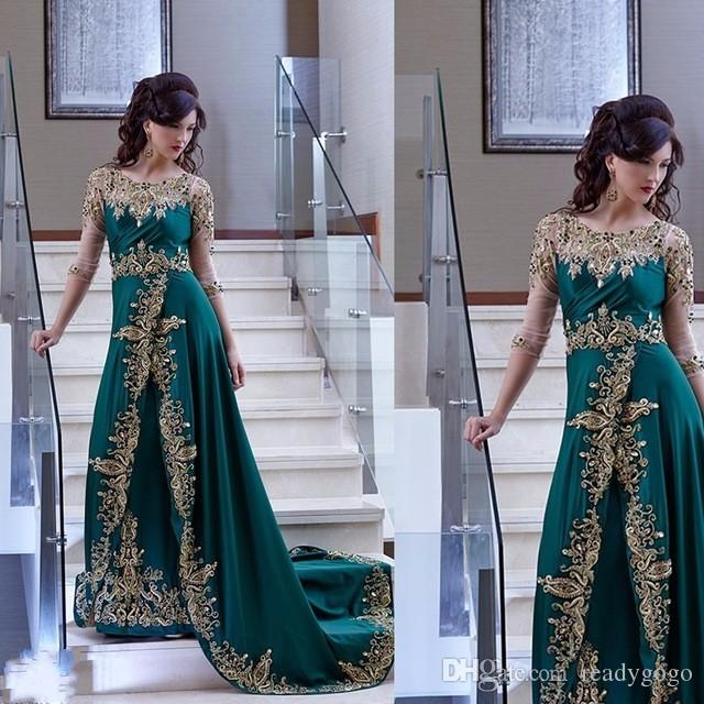 Elegant Arabic Dubai Evening Dresses Half Sleeve hunter Green Party Gown prom Satin Dress With gold lace Appliques abiye gece elbisesi