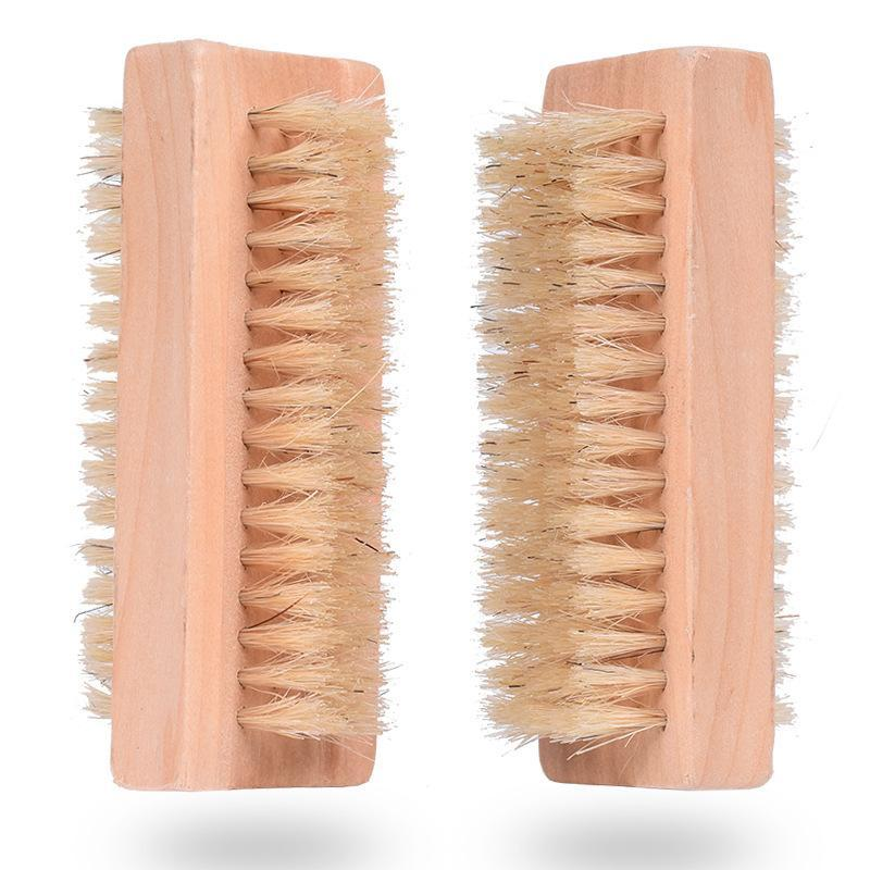 Деревянная щетка для ногтей двухсторонняя натуральная щетина кабана деревянная маникюрная щетка для ногтей СПА двойная поверхностная щетка для чистки рук кисти 10 см FFA2840