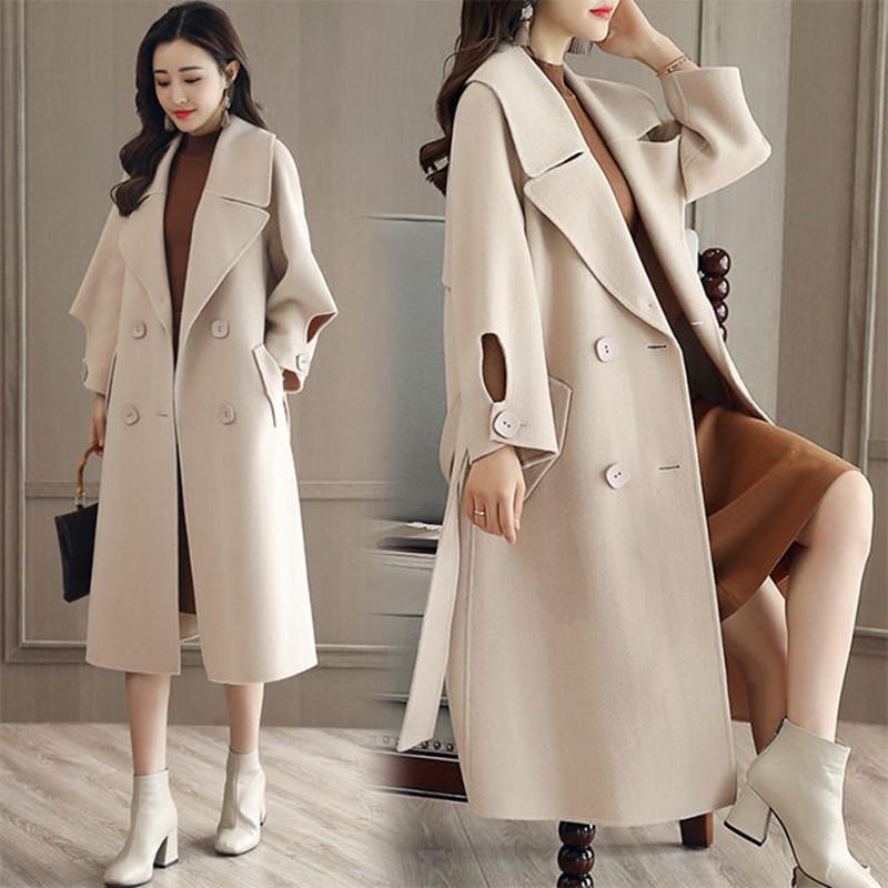 Herbst-Winter-Wollmantel weiblich 2020 neue Art und Weise zweireihige Woll Frauen Mäntel Weibliche Jacke mit Gürteln